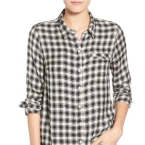 Lucky Brand Black/ White Checkered Plaid Flannel